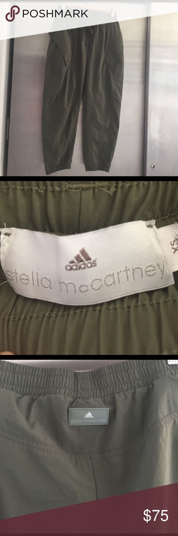 Adidas-Stella McCartney balloon pant! Army green, techno fabric, après workout pant. Worn once. Funky! Adidas by Stella McCartney Pants Track Pants & Joggers