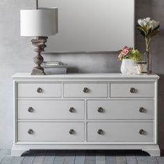 AURELIA 7 DRAWER CHEST by Frank Hudson | Grey Chest of Drawers | White and Silver Bedroom