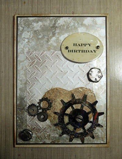 Mixed media birthday card. Alcohol inks, embossing, faux porcelain, Friendly Plastic, gilding wax, acrylic gel medium.
