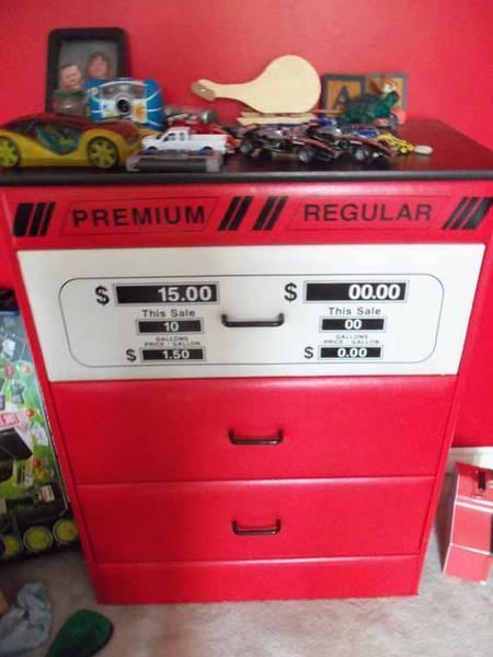 For B's room, race car theme?? gas bar dresser!
