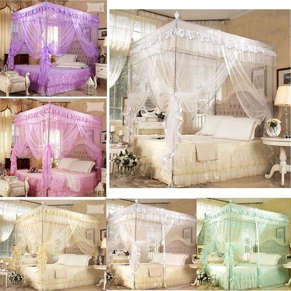 Princess Bed Canopy Mosquito Netting With Bed Frame Post Twin Full