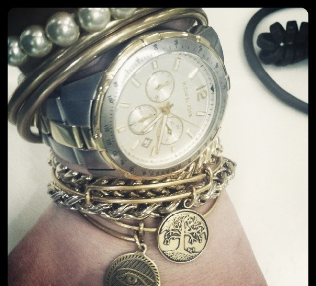 Layering the wrist.  Alex and ani bracelets, Nordstrom bangles, mk two tone watch, and vintage pieces.
