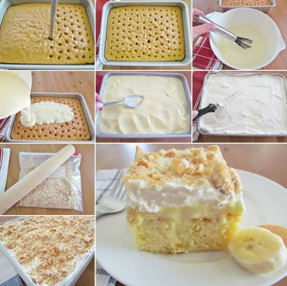 BANANA PUDDING POKE CAKE ~ Going to have to make this. Sugar free of course.
