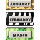 The months of the year are displayed on different animal print backgrounds.  There are numbered calendar pieces displayed on two different backgrou...