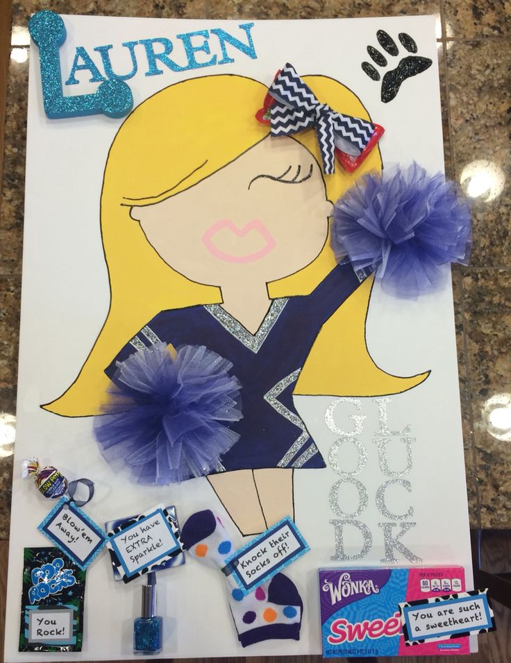 "Posters for our little sister Cheer/Pom team to wish them ""Good Luck"" at their next competition."