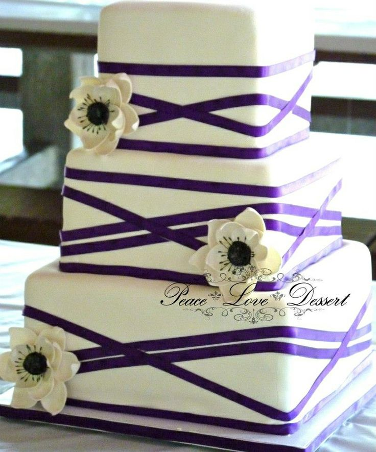 square wedding cake with purple ribbon purple ribbon wedding cake 3 tier square fondant wedding 20438