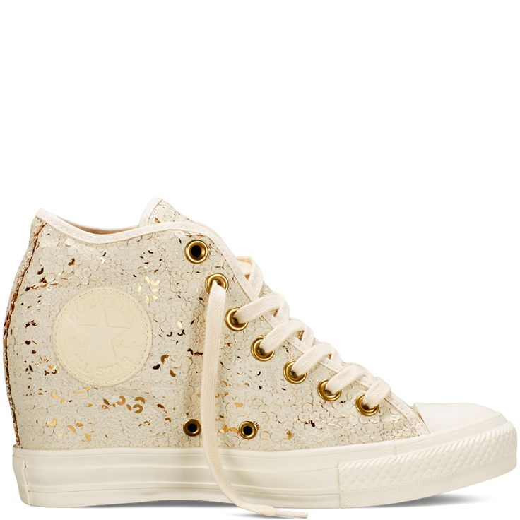 Converse wedges with white and gold sequins