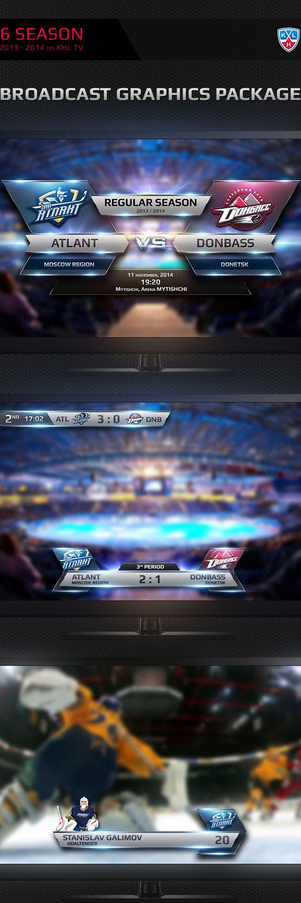 KHL Broadcast Graphics 2013-2014 by Vitaly Cherkasov, via Behance