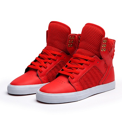 Supra Women's SKYTOP Shoe | Red/Gold - White. Dayum.