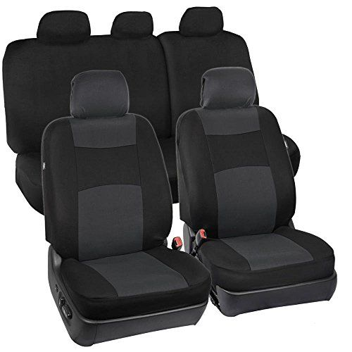 Full Set Black & Charcoal Grey Seat Covers for Car Auto SUV Polyester Cloth - 60/40 Split Rear Bench. For product info go to:  https://www.caraccessoriesonlinemarket.com/full-set-black-charcoal-grey-seat-covers-for-car-auto-suv-polyester-cloth-6040-split-rear-bench/