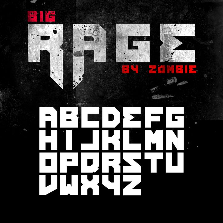 Big Rage font by ZoMbiE-by | Create your own roleplaying game books w/ RPG Bard: www.rpgbard.com | Pathfinder PFRPG Dungeons and Dragons ADND DND OGL d20 OSR OSRIC Warhammer 40000 40k Fantasy Roleplay WFRP Star Wars Exalted World of Darkness Dragon Age Iron Kingdoms Fate Core System Savage Worlds Shadowrun Dungeon Crawl Classics DCC Call of Cthulhu CoC Basic Role Playing BRP Traveller Battletech The One Ring TOR free fonts
