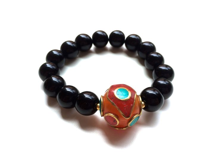 Stylish Bracelet | Onix stones and Unique Tibetan gemstone | One of a Kind | Fashion | Jewelry | Accessories | Black | Orange  https://www.etsy.com/listing/197781204/stylish-bracelet-onix-stones-and-unique?ref=related-6