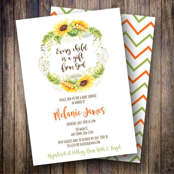 Watercolor Sunflowers Baby Shower Invitation, Sunflower Wreath, Printable Baby Shower Invitation Design, Sunflower Wreath in Green, Yellow, Brown - Spotted Gum Design - Etsy