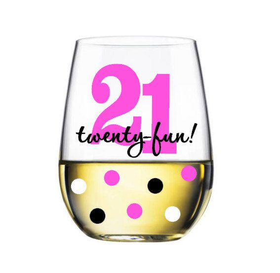 Twenty-fun stemless wine glass  21st birthday by Boundtobeloved