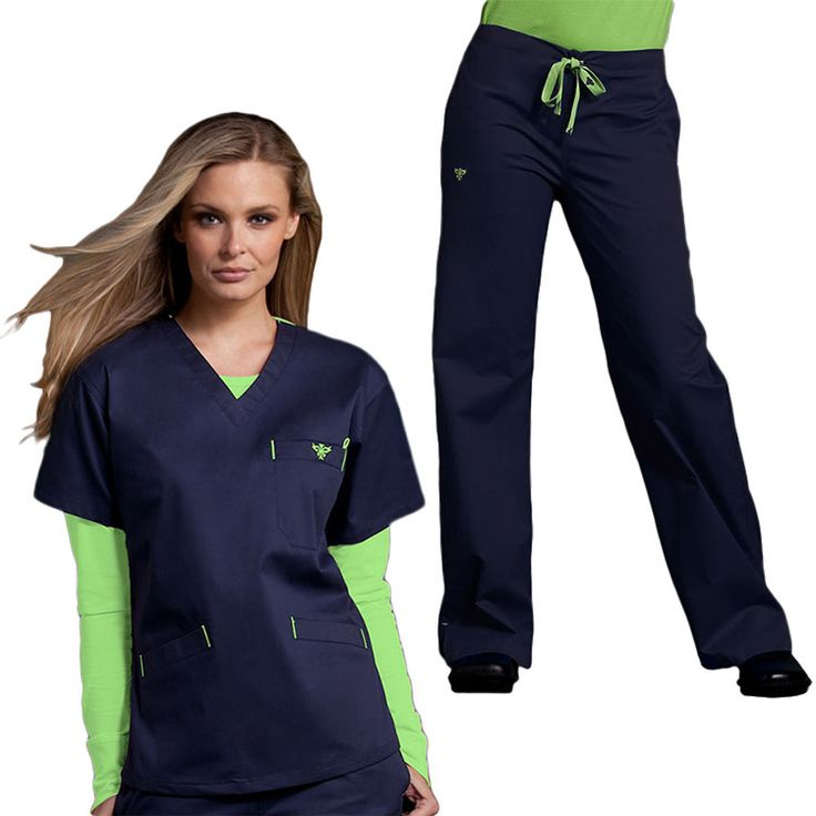 This women's scrub set from Med Couture includes a V-neck scrub top and drawstring scrub pants. The fabric is EZ Flex: a comfortable cotton, polyester and spandex blend. This scrub set will flatter...