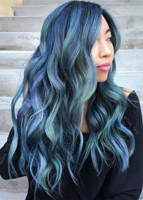 Blue Denim Hair Colors: Blue Jean Mermaid Balayage #denimhair #bluehair