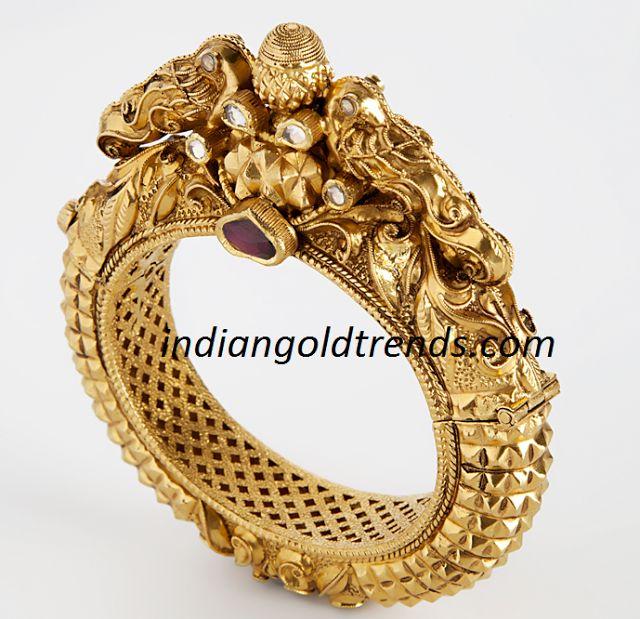 Latest Indian Gold and Diamond Jewellery Designs: Antique Peacock Kada