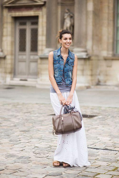 Kate King in a denim vest: Fashion Models, Jeans Vest, Street Style, Fashion Week, Long Skirts, Maxiskirt, Denim Vest, Maxi Skirts