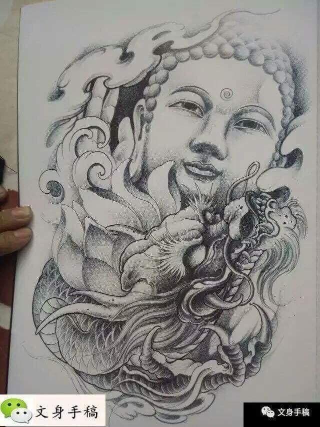 Voor Buddha dragon tattoo art sleeve Asian Japanese style