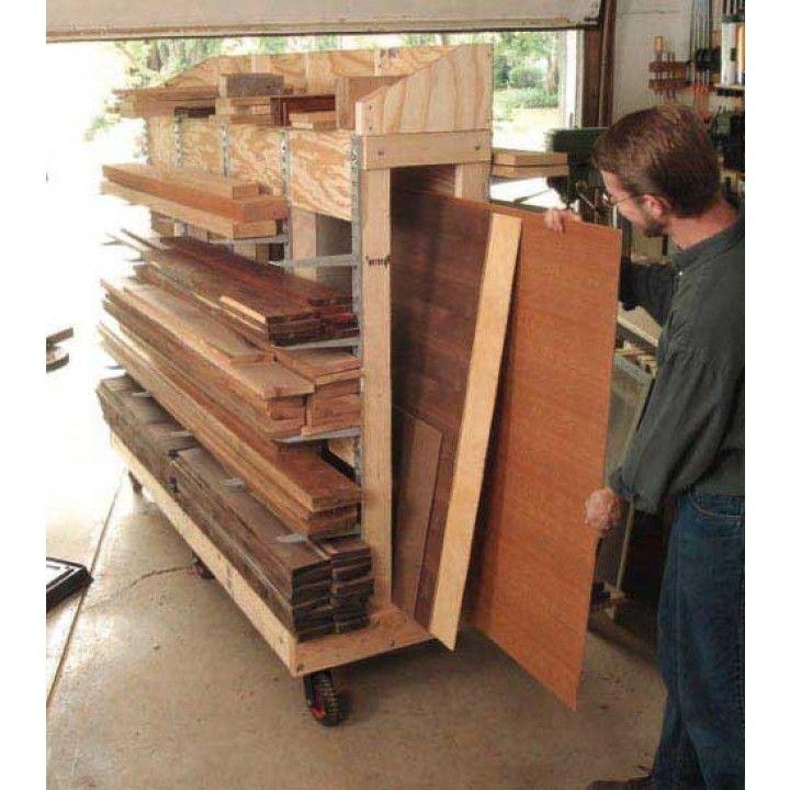 A downloadable plan for a Rolling Lumber Rack, designed for garage workshops.