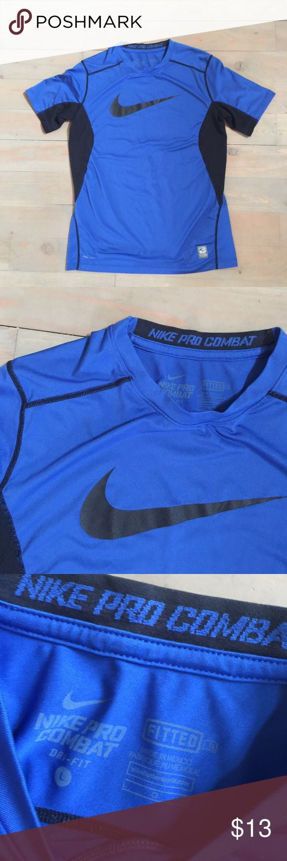 Boys NIKE Pro Combat Fitted Shirt Athletic Mesh Nike Combat Pro athletic shirt. Lightweight breathable fabric with mesh panels. Blue and black. Size Large - the tag doesn't say youth, but I'm positive it is. Excellent condition. Nike Shirts & Tops Tees - Short Sleeve
