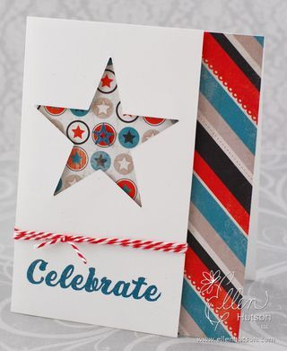 Celebrate Card..great punch out and pattern paper behind...fabulous look!