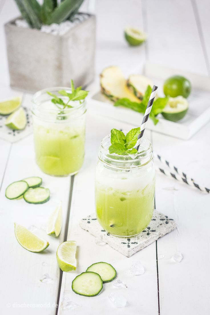 Aloe vera vita cocktail with coconut water, pineapple, cucumber and lime