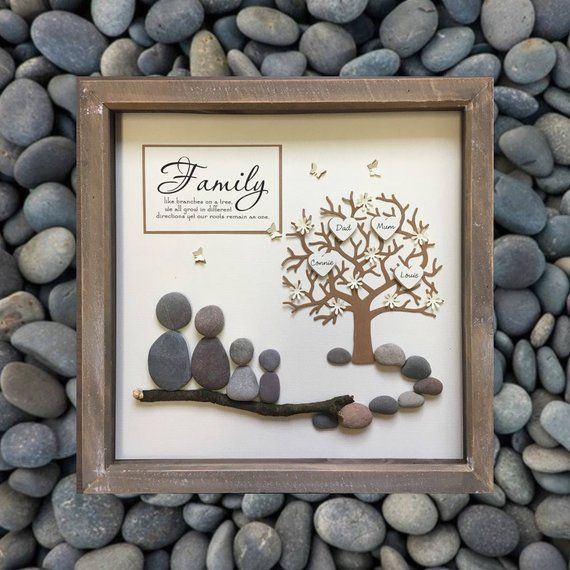Parent Gift, Family Tree, Pebble art, Mother, family gift, Family Tree Picture, Personalised, gift, Family Frame, Anniversary gift, Mom 33cm