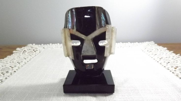 Vintage Abalone and Mother Of Shell Hand Made Tribal Mask With Onyx Stand by OutrageousVintagious on Etsy
