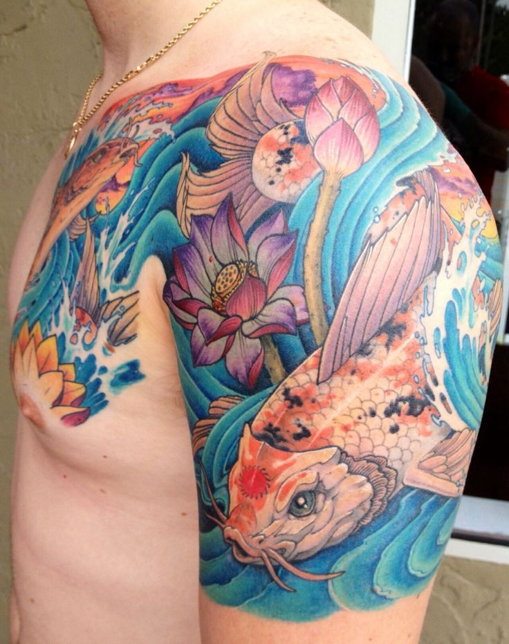 Men koi fish tattoo design lotus flower and water wish for Koi fish in water