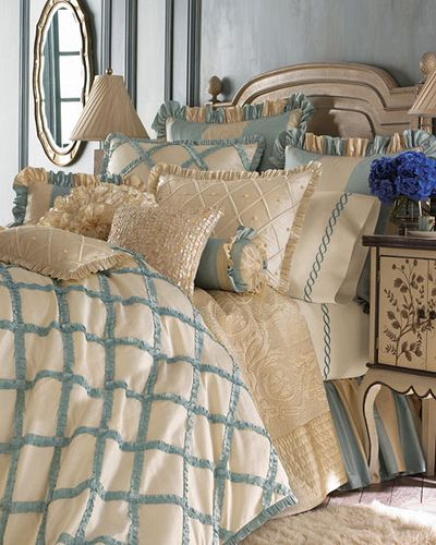 Love the light blue with the white and the antique beige furniture... I can never arrange my pillows to look this luscious...