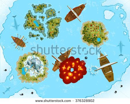 #Sea decorations. #Vector #design for app user #interface. Complete #set of #graphical user interface (GUI) to build #2D video #games
