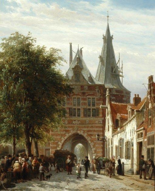 Cornelis Springer (Amsterdam 1817-1891 Hilversum) A view of the Cellebroederspoort, Kampen - Dutch Art Gallery Simonis and Buunk Ede, Netherlands.