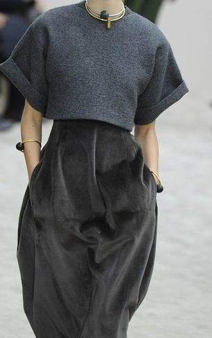 Love this top with high-waisted skirt!