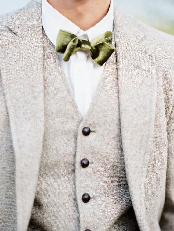 oatmeal suit with an olive green bow tie for the groom ~  we ❤ this! moncheribridals.com