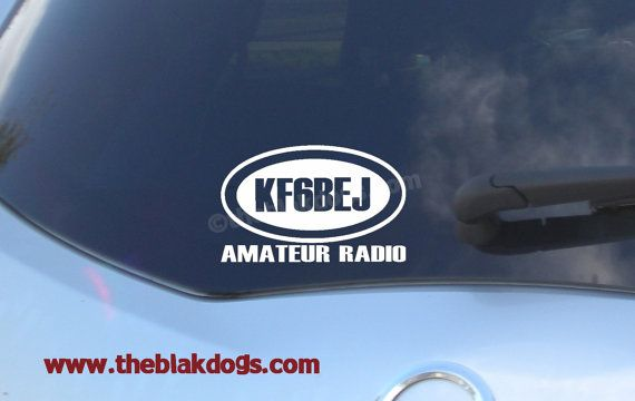 Ham Radio Call Sign Vinyl Sticker  personalized Car Decal by blakdogs, $7.00