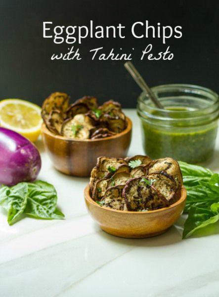 chips with tahini pesto pesto eggplant eggplant ideas eggplant chips ...