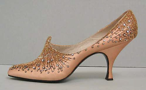 Evening shoes, House of Dior  (French, founded 1947)   Designer: Roger Vivier (French, 1913–1998) Date: 1954 Culture: French Medium: silk, glass, metal