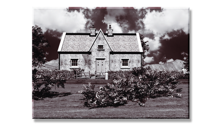 A Black and White negative rendering of a Sally Gap cottage