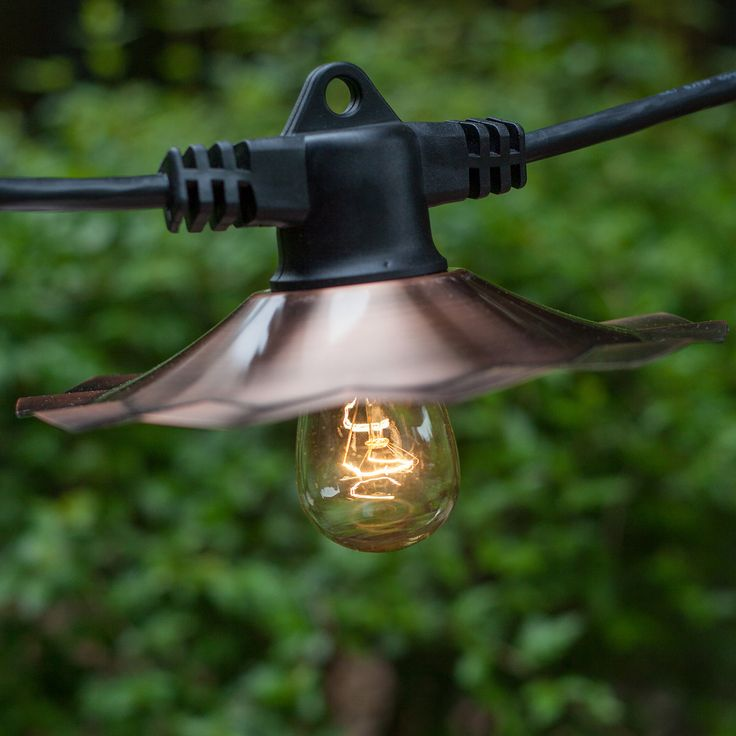 from $65.99 . Screw bulbs into this commercial patio light string E26 medium sockets with copper shades for professional looking light displays.