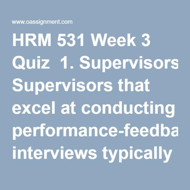 Hrm 531 performance managment plan