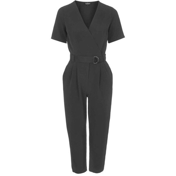 Petite Topshop'Judo' Belted Surplice Jumpsuit ($115) ❤ liked on Polyvore featuring jumpsuits, black, petite, petite jumpsuit, cropped jumpsuit, black jumpsuit, topshop jumpsuit and short sleeve jumpsuit