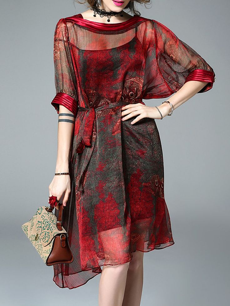 Shop Midi Dresses - Vintage Floral Half Sleeve Silk Midi Dress online. Discover unique designers fashion at StyleWe.com.