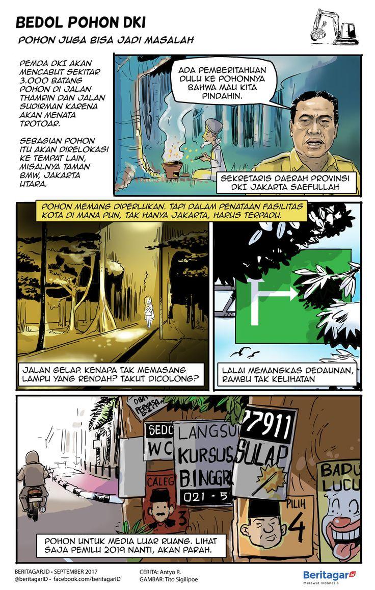 POHON | Apa boleh buat, ribuan pohon terpaksa dicabut. Lalu pepohonan yang masih tegak, tak hanya di Jakarta, mestinya tidak dibiarkan mengalangi lampu jalan maupun rambu lalu lintas. Juga jangan biarkan jadi media tempel iklan.