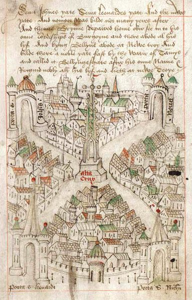 Map of Bristol from The Maire of Bristowe is Kalendar (dated circa 1479) by Robert Ricart, the common clerk of Bristol from 1478 to 1506. From the folio Ricart's Maiores Kalendar and The Lord Mayors Calendar whose physical copy is at Bristol Record Office, B Bond Warehouse, Smeaton Road, Bristol BS1 6XN. The document is reference number 04720 in the Office's catalogue.