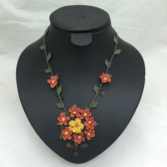 "Authentic Anatolian Needle Lace Pure Silk ""Feriha"" Necklace - Turkish Oya"
