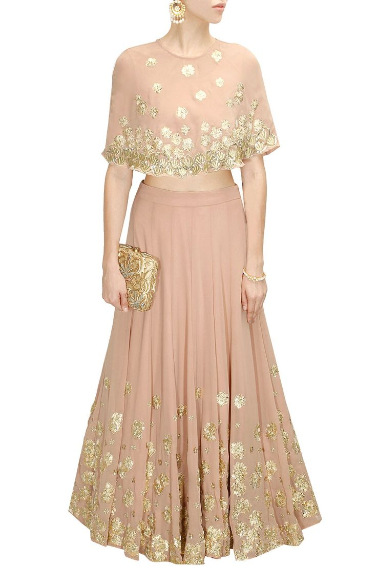 Pale pink sequins embroidered cape lehenga set available ...