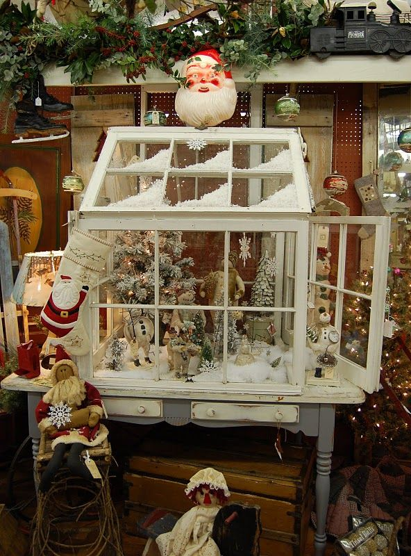 Made from windows / wouldn't this be cute to make a one-room scene...Christmas by the hearth, seating in a garden, finding treasures in the attic, etc