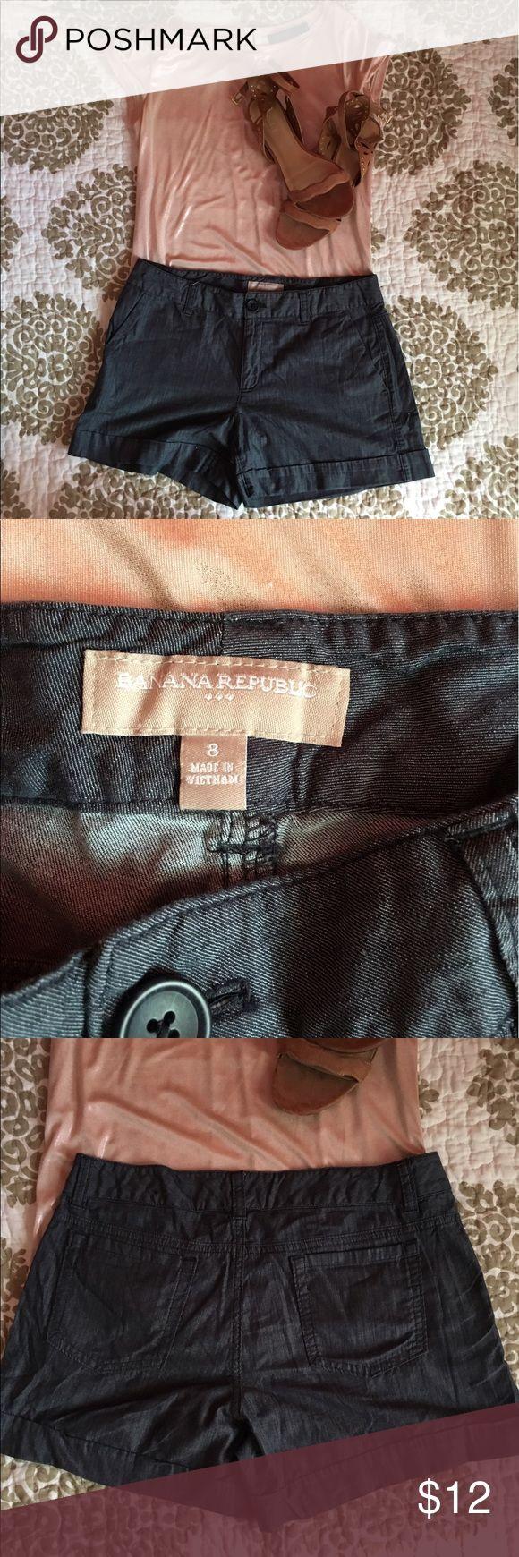 Banana Republic denim-like shorts These are a soft denim colored material! Banana Republic size 8, worn less than 5 times! Banana Republic Shorts
