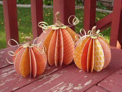 Cute autumn decor: Pumpkin Crafts, Crafts Ideas, Fall Decor, Fall Crafts, Pumpkins, Paper Pumpkin, Scrapbook Paper, Centerpieces, Halloween